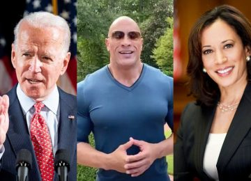 Dwayne The Rock Johnson Joe Biden Kamala Harris-min