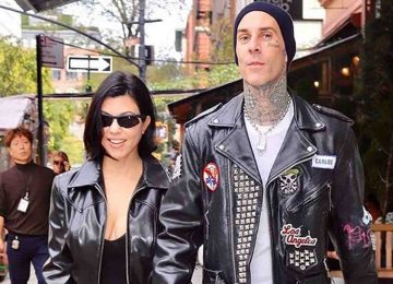 Kourtney Kardashian and Travis Barker Wear Black